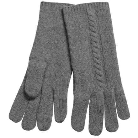"Portolano 10"" Cashmere Gloves - Cable-Knit Detail (For Women) in Dark Heather Grey - Closeouts"