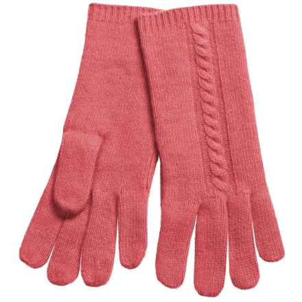 "Portolano 10"" Cashmere Gloves - Cable-Knit Detail (For Women) in Sugar Coral - Closeouts"