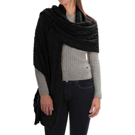 Portolano Cable-Knit Cashmere Wrap (For Women) in Black - Closeouts