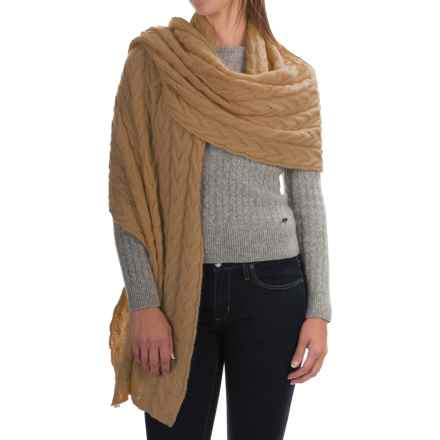Portolano Cable-Knit Cashmere Wrap (For Women) in Light Camel - Closeouts