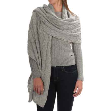 Portolano Cable-Knit Cashmere Wrap (For Women) in Light Grey - Closeouts