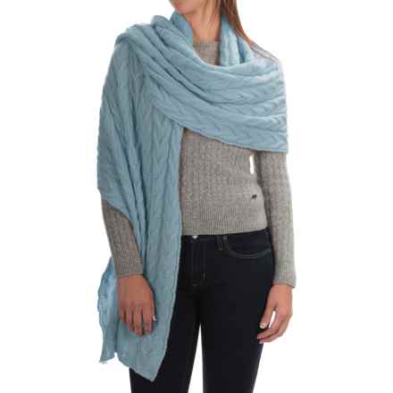 Portolano Cable-Knit Cashmere Wrap (For Women) in Powder Blue - Closeouts