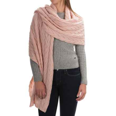 Portolano Cable-Knit Cashmere Wrap (For Women) in Rose Cloud - Closeouts