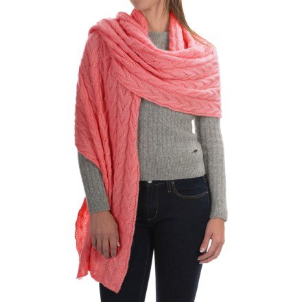 fbf32ec51a3 Portolano Cable-Knit Cashmere Wrap (For Women) in Sugar Coral - Closeouts