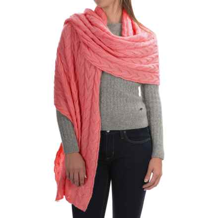 Portolano Cable-Knit Cashmere Wrap (For Women) in Sugar Coral - Closeouts