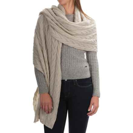 Portolano Cable-Knit Cashmere Wrap (For Women) in Yogi Ivory - Closeouts
