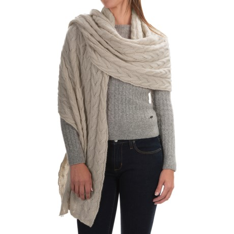 Portolano Cable-Knit Cashmere Wrap (For Women) in Yogi Ivory