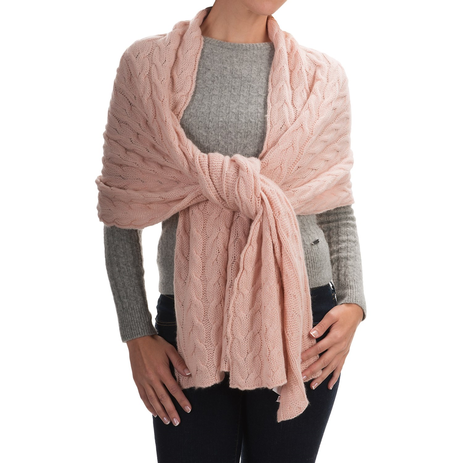 Portolano Cable-Knit Cashmere Wrap (For Women) - Save 60%