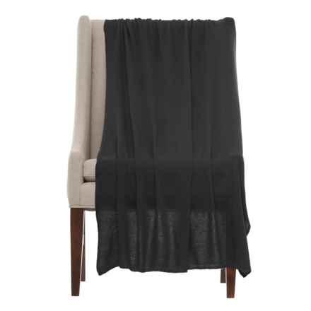 "Portolano Cashmere Blend Throw Blanket- 40x68"" in Black - Closeouts"