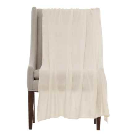 "Portolano Cashmere Blend Throw Blanket- 40x68"" in White - Closeouts"
