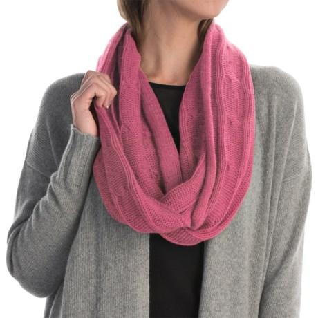Portolano Cashmere Cable-Knit Infinity Scarf (For Women) in Azalea