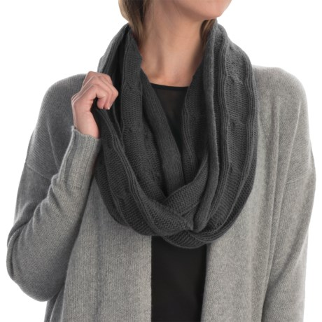 Portolano Cashmere Cable-Knit Infinity Scarf (For Women) in Black