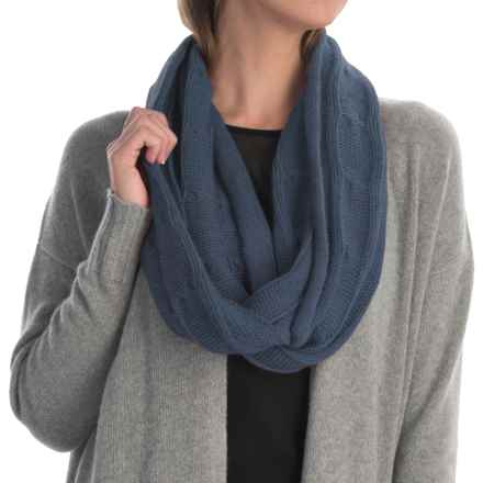 Portolano Cashmere Cable-Knit Infinity Scarf (For Women) in Dusty Indigo - Closeouts