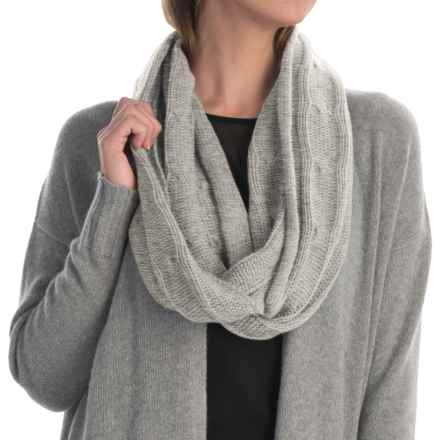 Portolano Cashmere Cable-Knit Infinity Scarf (For Women) in Light Heather Grey - Closeouts