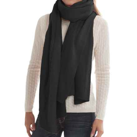 """Portolano Cashmere Cable-Knit Wrap - 23x80"""" (For Women) in Black - Closeouts"""