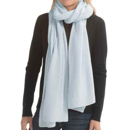 "Portolano Cashmere Cable-Knit Wrap - 23x80"" (For Women) in Celeste - Closeouts"