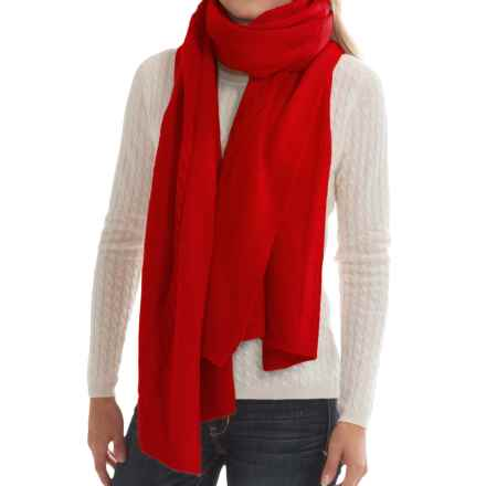 "Portolano Cashmere Cable-Knit Wrap - 23x80"" (For Women) in Fire Red - Closeouts"