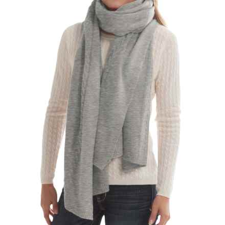 "Portolano Cashmere Cable-Knit Wrap - 23x80"" (For Women) in Light Heather Grey - Closeouts"