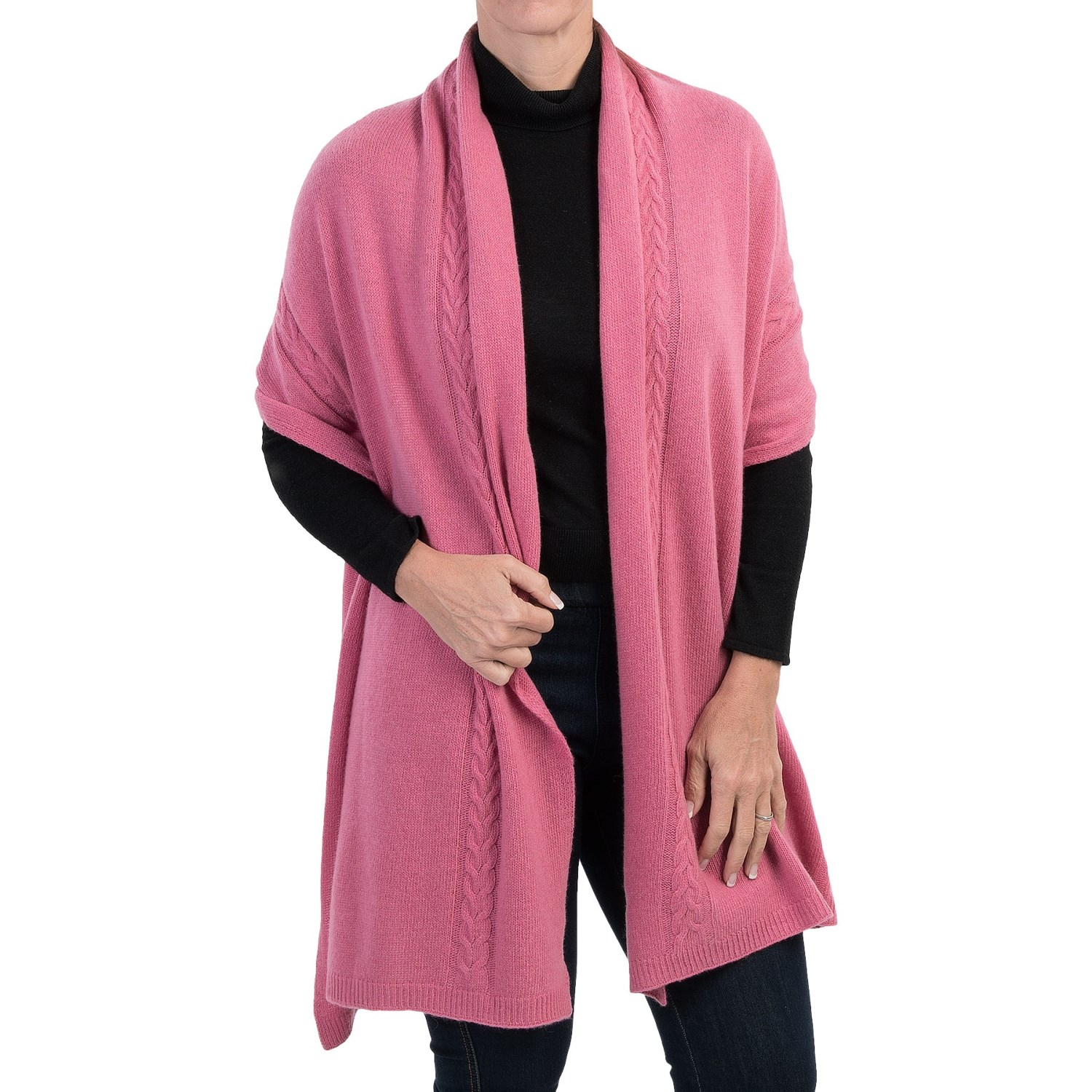 Portolano Cashmere Cable-Knit Wrap (For Women) - Save 62%