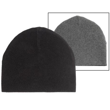 Portolano Cashmere Jersey Two-Tone Beanie - Reversible (For Men) in Black/Medium Heather Grey