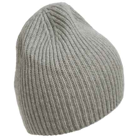 Portolano Cashmere Needle Ribbed Beanie (For Men) in Light Heather Grey - Closeouts