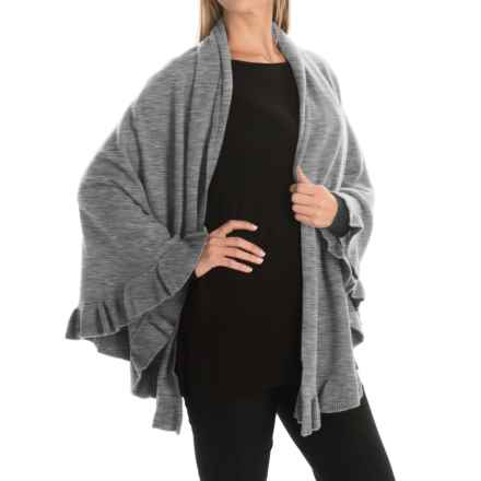 Portolano Cashmere Ruffled Shawl (For Women) in Medium Heather Grey - Closeouts
