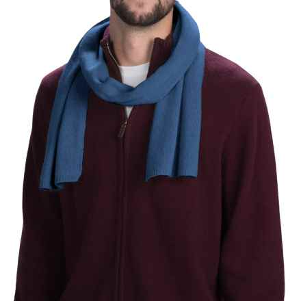 Portolano Cashmere Scarf (For Men and Women) in Indigo Blue - Closeouts