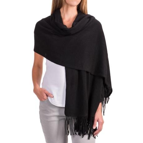 """Portolano Cashmere Wrap Scarf - 22x80"""" (For Women) in Black"""
