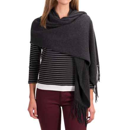 "Portolano Cashmere Wrap Scarf - 22x80"" (For Women) in Heather Charcoal - Closeouts"