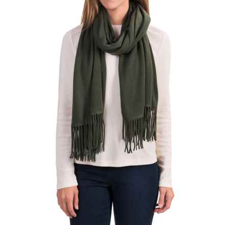 "Portolano Cashmere Wrap Scarf - 22x80"" (For Women) in Olive - Closeouts"