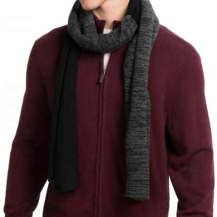 Portolano Color-Blocked Cashmere Scarf (For Men) in Black/Medium Heather Grey - Closeouts