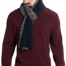 Portolano Color-Blocked Cashmere Scarf (For Men) in Navy/Nile Brown - Closeouts