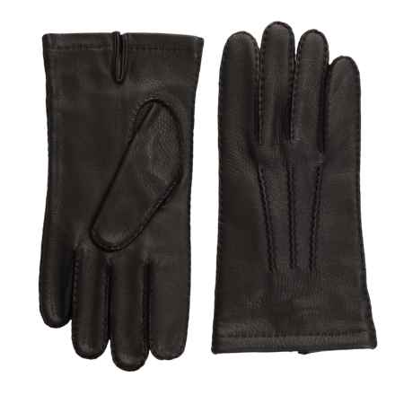 Portolano Corded Rock-Sewn Deerskin Gloves - Cashmere Lined (For Men) in Black - Closeouts