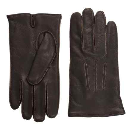 Portolano Deerskin Gloves - Cashmere Lined (For Men) in Chocolate Brown/Dark Camel - Closeouts
