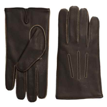 Portolano Deerskin Gloves - Cashmere Lined (For Men) in Dark Brown/Camel - Closeouts