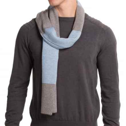Portolano Dorset Stripe Scarf - Merino Wool (For Men) in Heather Blue/Dark Taupe - Closeouts