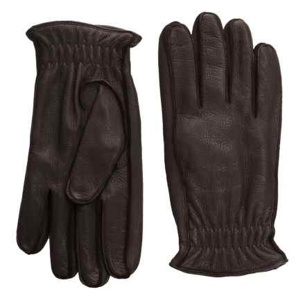 Portolano Elasticized Deerskin Gloves - Cashmere Lined (For Men) in Dark Brown - Closeouts