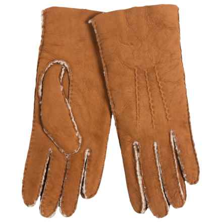 Portolano Handsewn Curly Shearling Gloves (For Women) in Chestnut - Closeouts