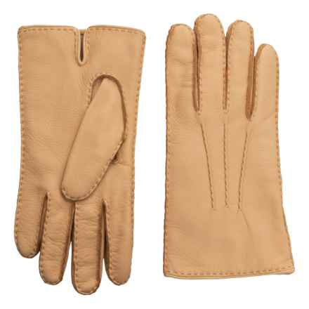 Portolano Handsewn Deerskin Gloves - Cashmere Lined (For Men) in Chamois - Closeouts