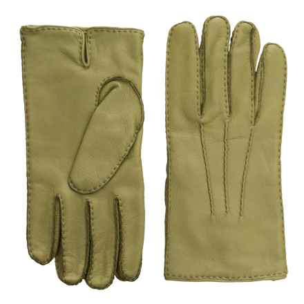 Portolano Handsewn Deerskin Gloves - Cashmere Lined (For Men) in Moss - Closeouts