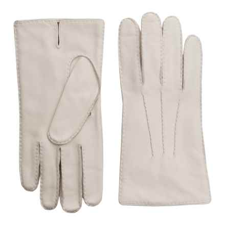 Portolano Handsewn Deerskin Gloves - Cashmere Lined (For Men) in Oyster - Closeouts