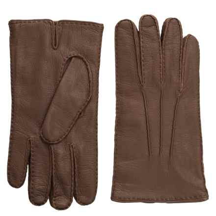 Portolano Handsewn Deerskin Gloves - Cashmere Lined (For Men) in Taupe - Closeouts