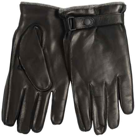 Portolano Nappa Leather Gloves - Cashmere Lined, Snap Strap (For Men) in Black/Medium Heather Grey - Closeouts
