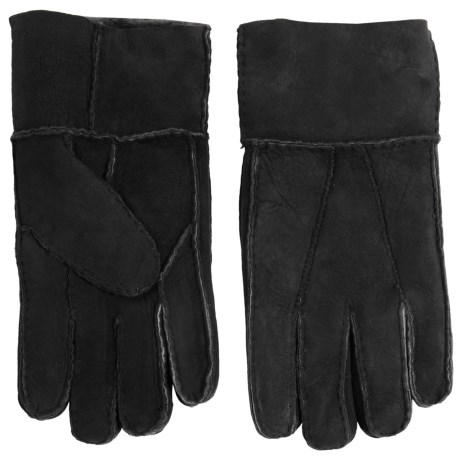 Portolano Patchwork Lambskin Leather Gloves - Shearling Lined (For Men) in Black