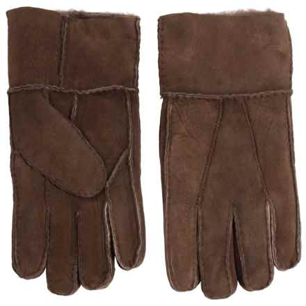 Portolano Patchwork Lambskin Leather Gloves - Shearling Lined (For Men) in Brown - Closeouts