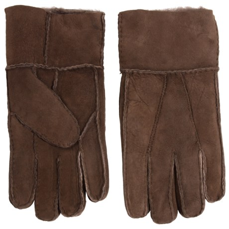 Portolano Patchwork Lambskin Leather Gloves - Shearling Lined (For Men) in Brown