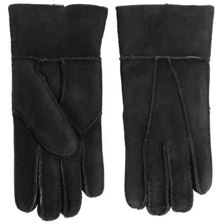 Portolano Patchwork Shearling Gloves (For Women) in Black - Closeouts