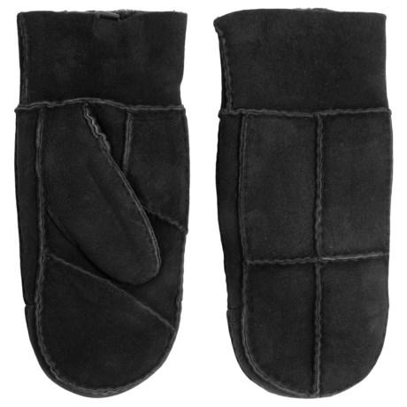 Portolano Patchwork Shearling Mittens (For Women) in Black/Black
