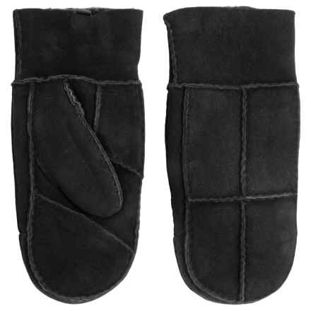 Portolano Patchwork Shearling Mittens (For Women) in Black - Closeouts