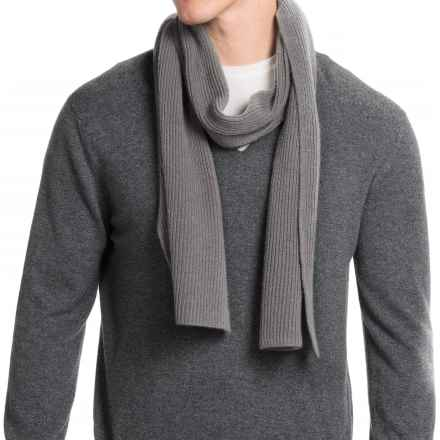 Portolano Rib-Knit Cashmere Scarf (For Men) in Light Heather Grey - Closeouts